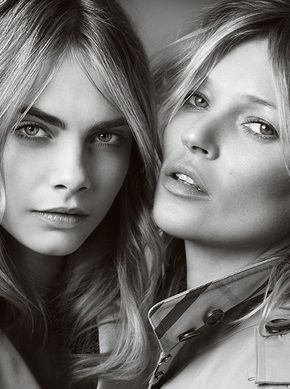 British Models Kate Moss and Cara Delevingne shot for the first time together for My Burberry