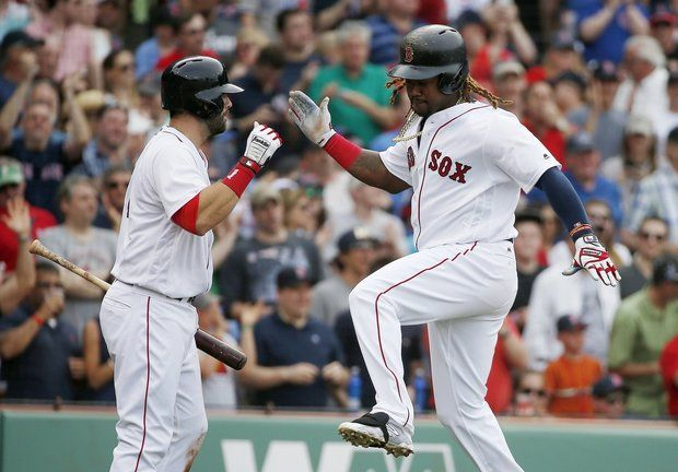 Hanley Ramirez hits longest home run, 469 feet, at Fenway Park in Statcast era (2015-2017)  -  April 29, 2017:        Boston Red Sox's Hanley Ramirez, right, celebrates his home run with teammate Mitch Moreland during the third inning of a baseball game against the Chicago Cubs, Saturday, April 29, 2017, in Boston. (AP Photo/Michael Dwyer)