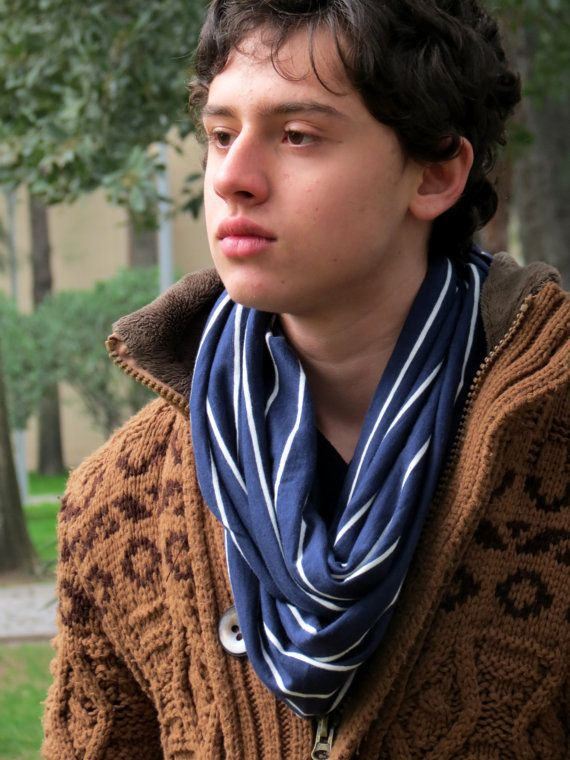 Men infinity Scarf,blue and white striped scarf. Infinity Scarf, Loop Scarf, Circle Scarf, textile striped Scarf,Scarf,