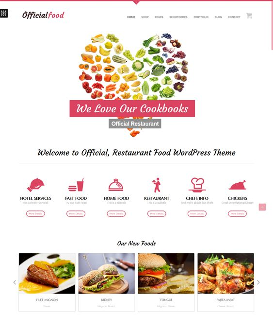 This restaurant theme for WordPress features RTL language support, SEO optimization, WPML and WooCommerce compatibility, a responsive layout, a drag and drop page builder, live color customization, and more.
