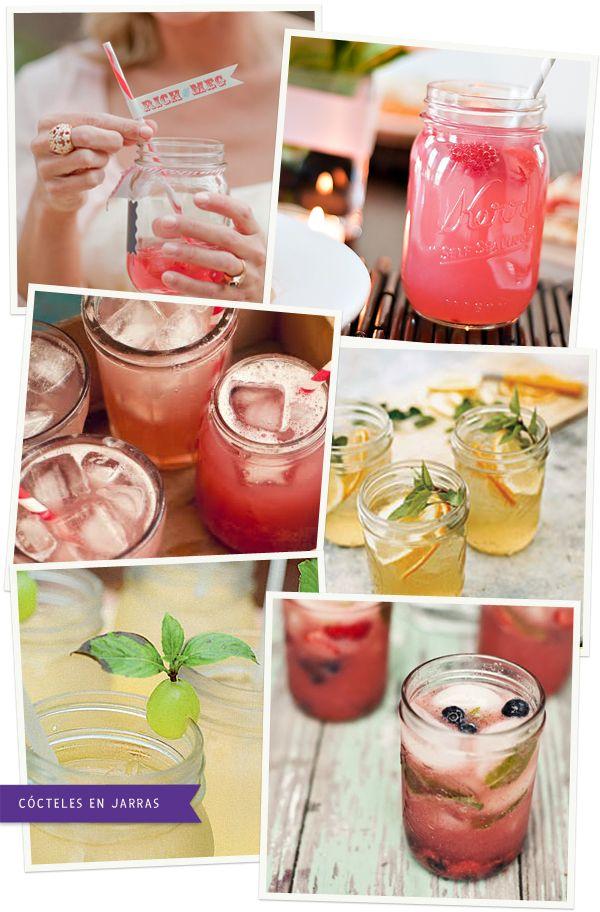 Sirve tus cócteles en jarras en vez de en copas! Original y divertido! De blog.fiestafacil.com / Serve your cocktails in jars instead of glasses, more fun and original! From blog.fiestafacil.com