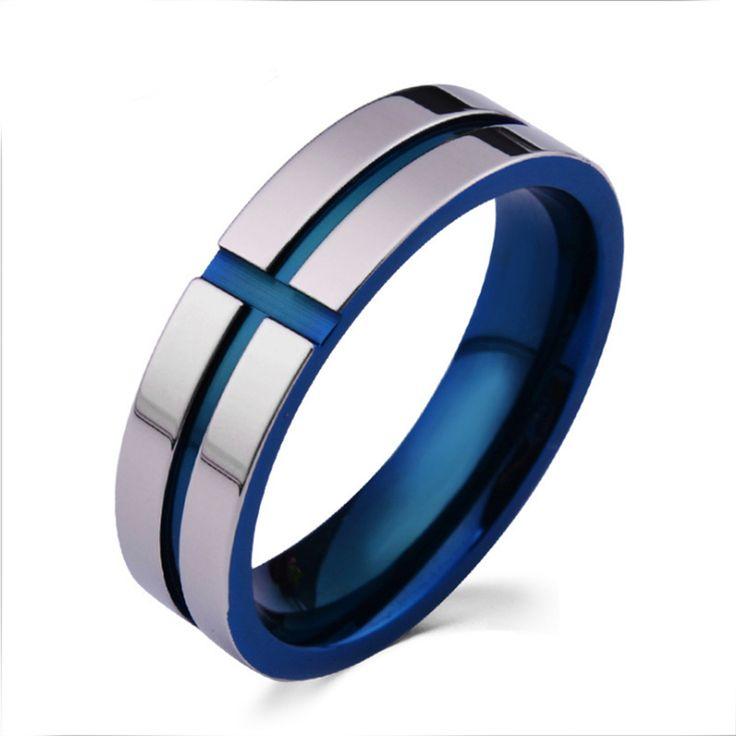 Синий Английские Лорды Кольца Мужчины Ювелирные Изделия 6 мм Титана Стали Белый Позолоченные Синий Крест Письмо Молиться Библии Обручальное Лордов кольца