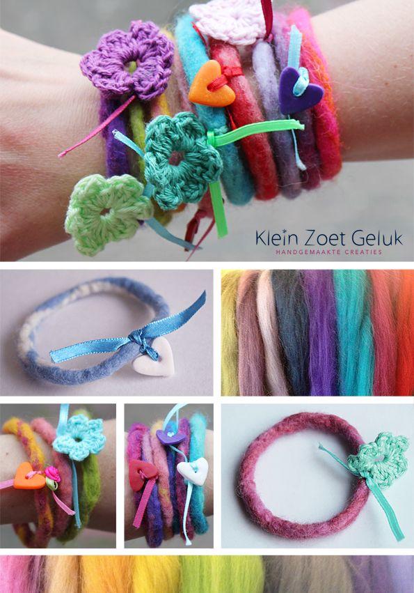 Klein Zoet Geluk. Vilten armbandjes. Kijk op hun leuke blog voor een complete beschrijving: http://kleinzoetgeluk.blogspot.nl/2012/04/vilten-armbandjes.html