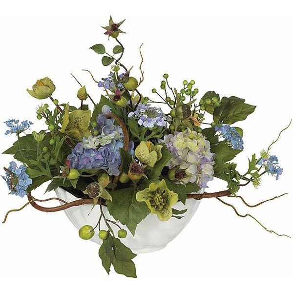 Nearly Natural Hydrangea Silk Flower Centerpiece Arrangement Multi (1 400 UAH) ❤ liked on Polyvore featuring home, home decor, floral decor, multi, white hydrangea silk flowers, white bowl, ceramic bowl, white hydrangea centerpiece and faux flowers