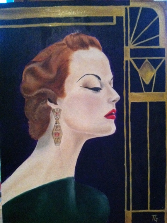 1920's belle adorned in Art Deco inspired