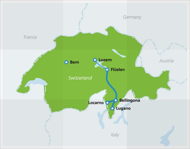Map with route of Wilhelm Tell Express