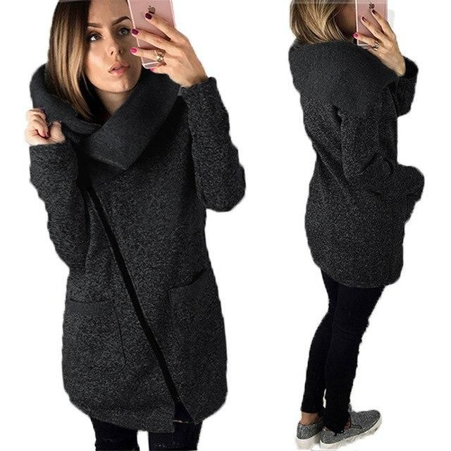 Autumn Winter Women Jacket Solid Color Long Sleeve Coat Diagonal Zipper Turndown Collar Lady Casual Outwear Plus Size S-5 dark g