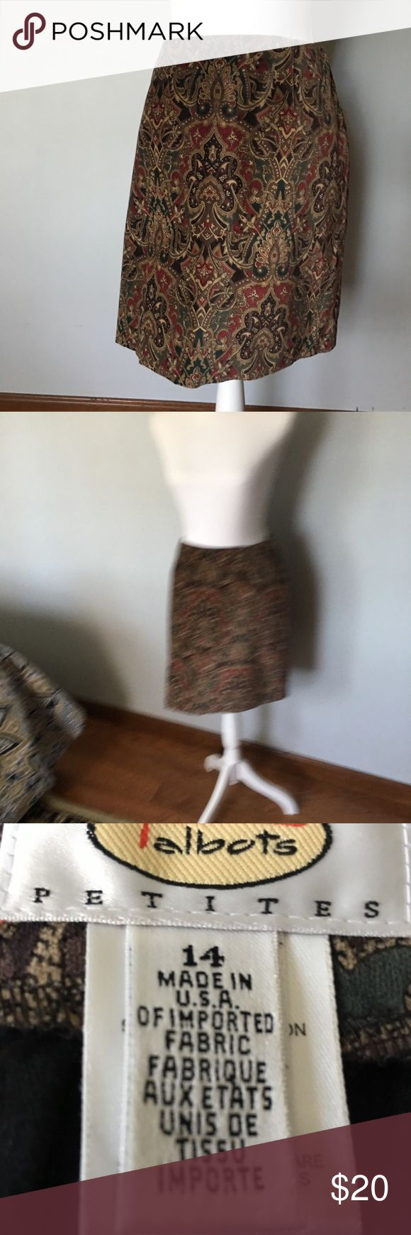 Talbots NWOT multi colored skirt A plush velveteen multi color Talbots skirt. Back zipper, 97%cotton, 3%spandex. The fabric has a nice give which makes for a very comfortable fit. NWOT Talbots Skirts Mini