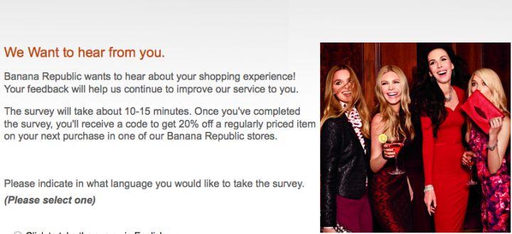 banana republic customer survey