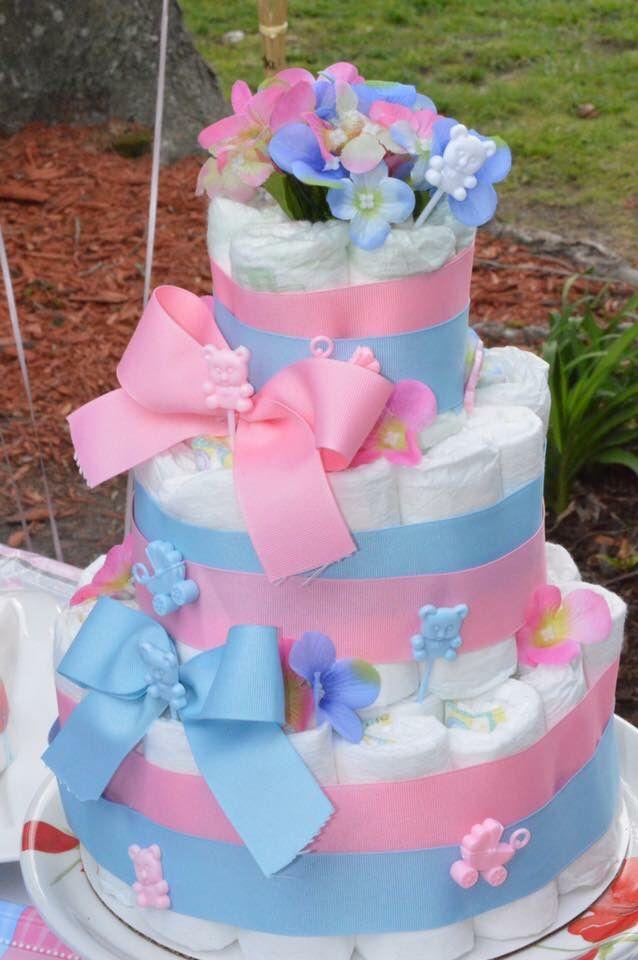 Gender reveal party diaper cake