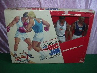 BIG JIM vs BIG JEFF GOLD MEDAL US OLYMPIC BOXING MATCH NÂ 7425 MATTEL '70 's W/B