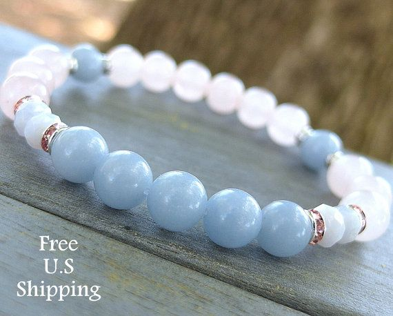 Angelite Bracelet, Rose Quartz, wrist mala, yoga bracelet, Reiki, angel bracelet, protection, angelite jewelry, gemstone bracelet, stone