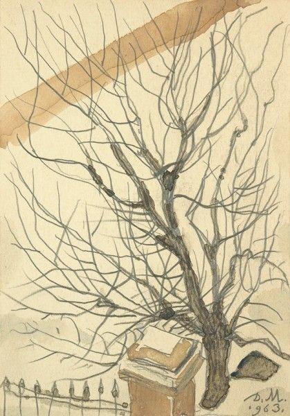 Митрохин Дмитрий Исидорович (1883—1973) «Дерево зимой». 1963. Бумага, графитный карандаш, акварель, 15,1 х 10,5 см.