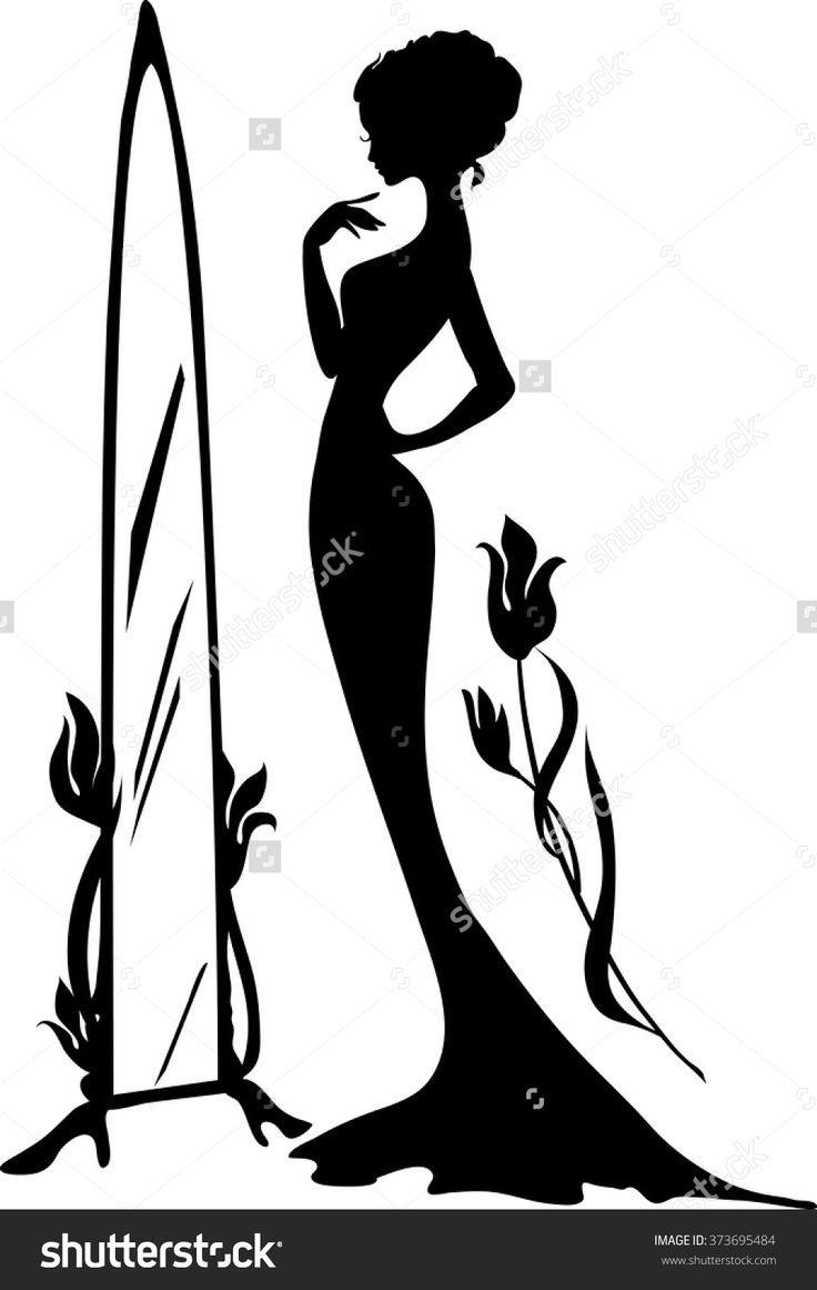 stock-vector-woman-in-an-evening-dress-vector-illustration-elegant-lady-stand-near-mirror-with-flowers-373695484.jpg (1014×1600)