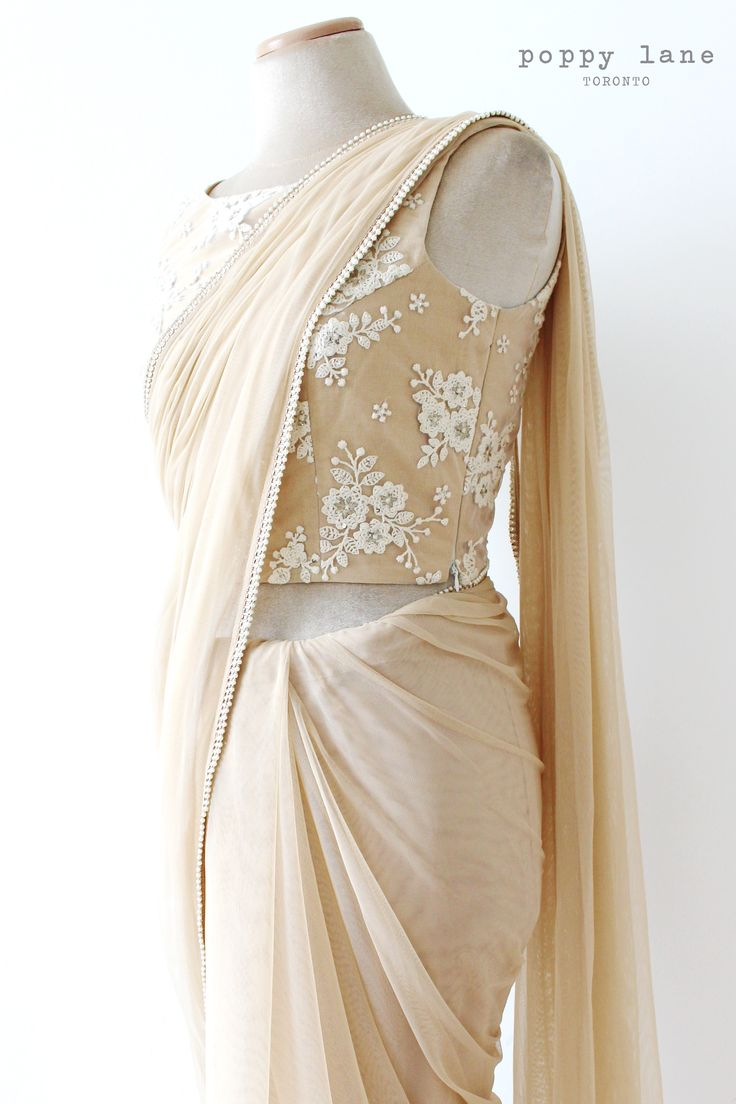 Crop top blouse and soft net sari... introducing Fairy Dust! Find this beauty at poppylane.ca
