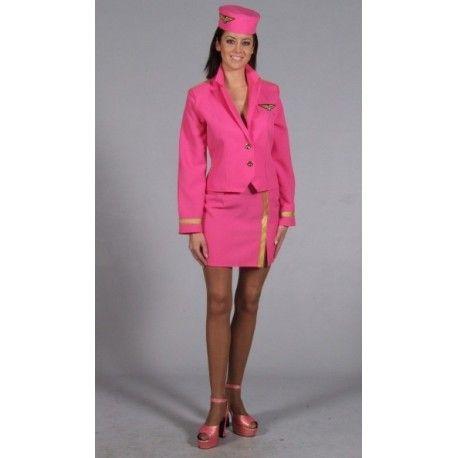 Déguisement Hôtesse de L'air Pink Femme