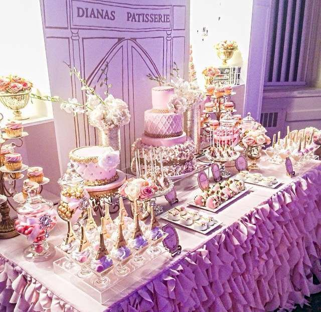 French / Parisian Sweet 16 Party Ideas | Sweets table ...