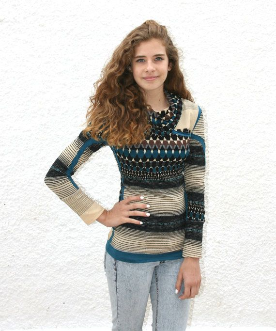Cowl neck sweater,  aztec sweater, geometric sweater, printed fitted sweater, aztec jumper,  contemporary, geometric print, boho sweater on Etsy, $56.98
