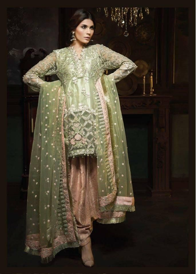 Beutifull Dress In Chiffon By Ayra Light Pistachio Green And Pink Color Model C 1131