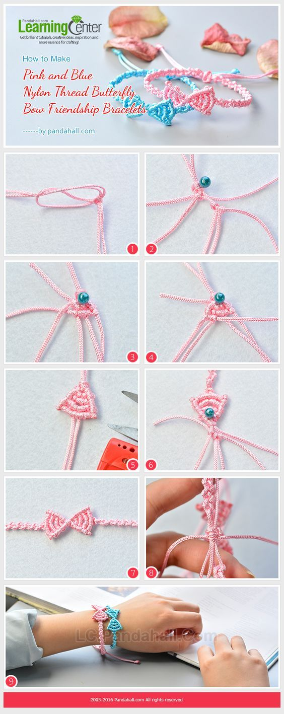 Do you like the pink and blue nylon thread butterfly bow friendship bracelets?