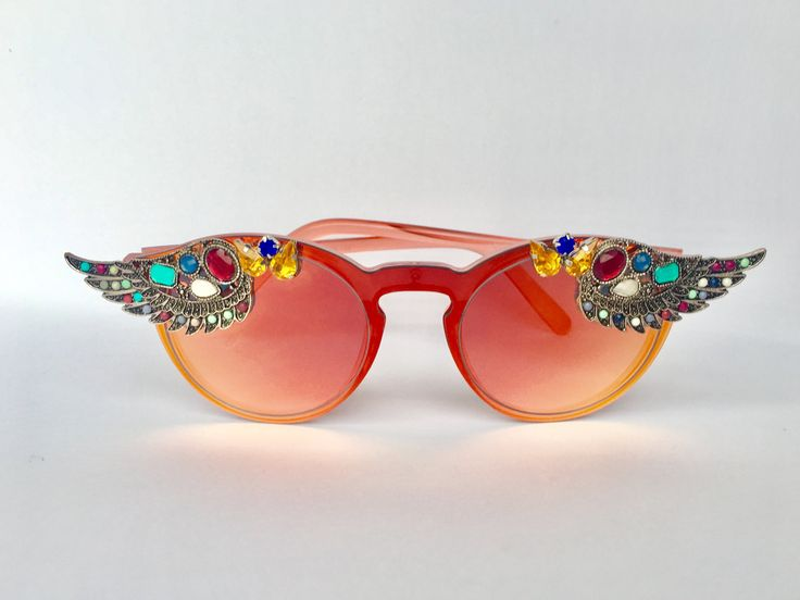 Winged festival sunglasses by coolingglasscompany on Etsy