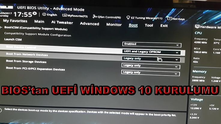 BIOS'tan UEFİ Windows 10 kurulumu.