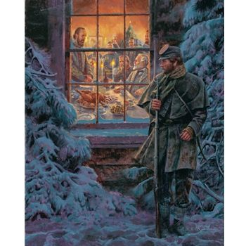 How Real Soldiers Live by Mort Kunstler is a Civil War painting of an officers Christmas party