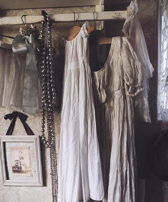 ~ from the book 'Where Women Create: Book of Inspiration: In the Studio and Behind the Scenes with Extraordinary Women': Black And White, Shabby Chic, Vintage Wardrobe, Wardrobes, Victorian Fashion, Closet, Linens Dresses, Antiques Linens, Vintage Clothing