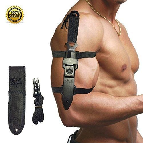 Hok Tactical Knife- Two Nylon & ABS Sheath and Adjustable Leg Strap-Stainless Steel Blade for Diving Hiking Hunting and Survival