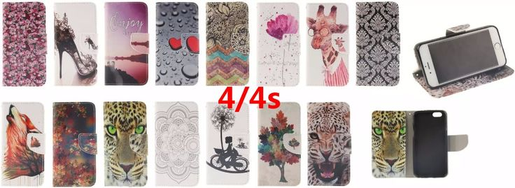 15 Fashion Patterns Flip Case for Apple iPhone 4 4S PU Leather + Soft Silicon Wallet Case iPhone 4S Cover Case Tiger Wolf heels