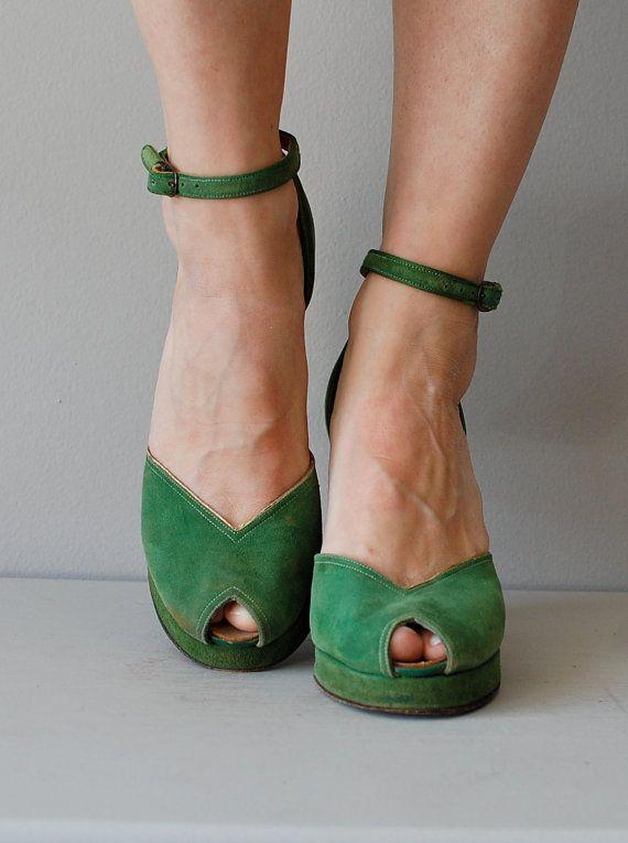 1940s shoes / 40s platform heels / green shoes / by DearGolden, $198.00