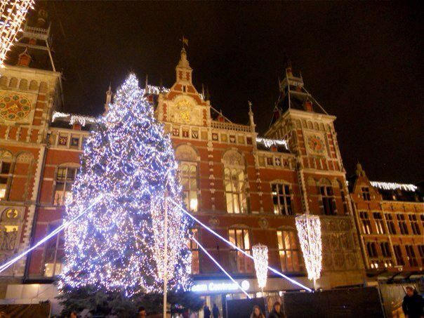 Amsterdam Centraal Station at Christmas