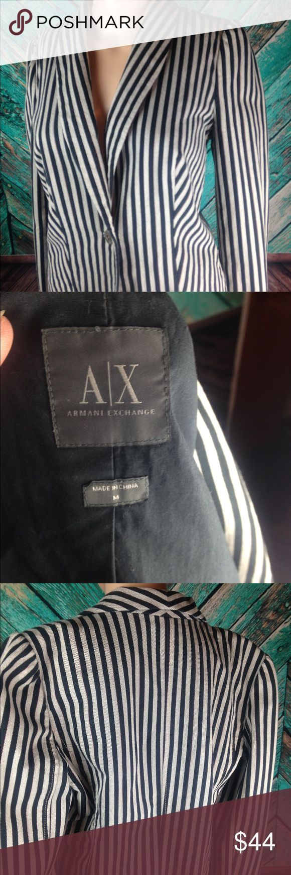 Armani Exchange Striped Blazer Fun, striped blazer from A/X. Tones of black and grey with a tiny red pinstripe. In very good used condition. A/X Armani Exchange Jackets & Coats Blazers