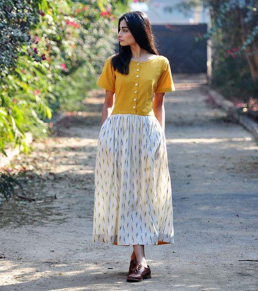 Mustard and ivory maxi dress