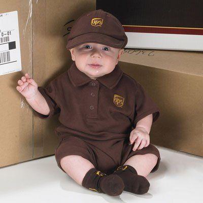 united parcel service baby brown onesie cap socks ups guy driver uniform costume - Ups Man Halloween Costume