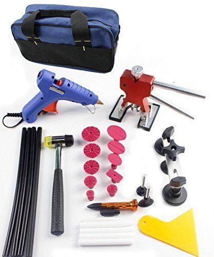 Furuix 42pcs Auto Car Dent Ding Removal Kit PDR Dent Lifter Dent Puller Glue Gun Slide Hammer Puller Hail Repair Tool Kits Pdr Starter Kit PDR Dent Removal