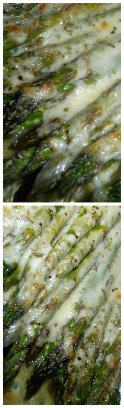 Cheesy Baked Asparagus ~ use oil instead of butter
