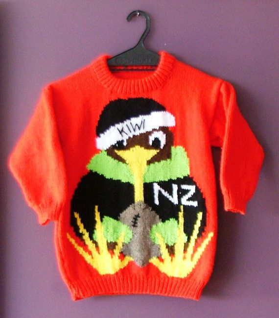 Kiwi Holding Rugby Ball knitting pattern. Sizes by KraftyKiwis