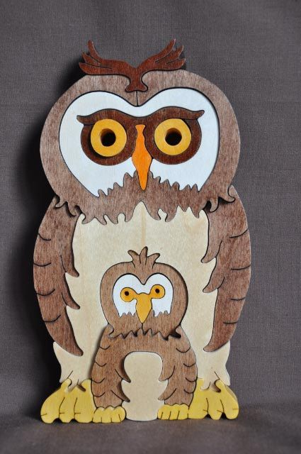 Owl with Baby 3D  Puzzle Wooden Toy Hand Cut with Scroll Saw