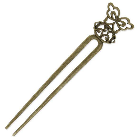 1 Pic à Cheveux Double - Bronze vieilli - 34x16cm - A customiser