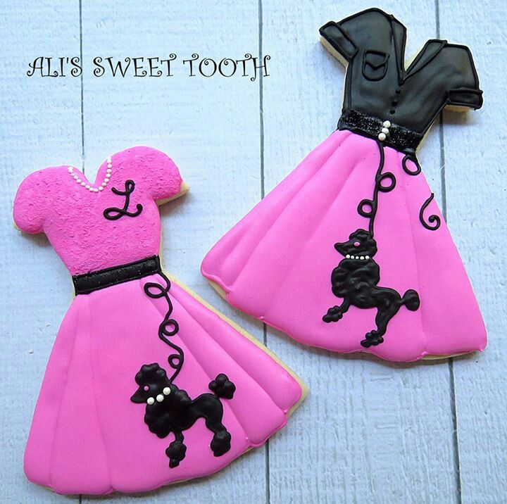 This Poodle Skit Outfit is the perfect 60's girls birthday cookie  | Decorated Sugar Cookie
