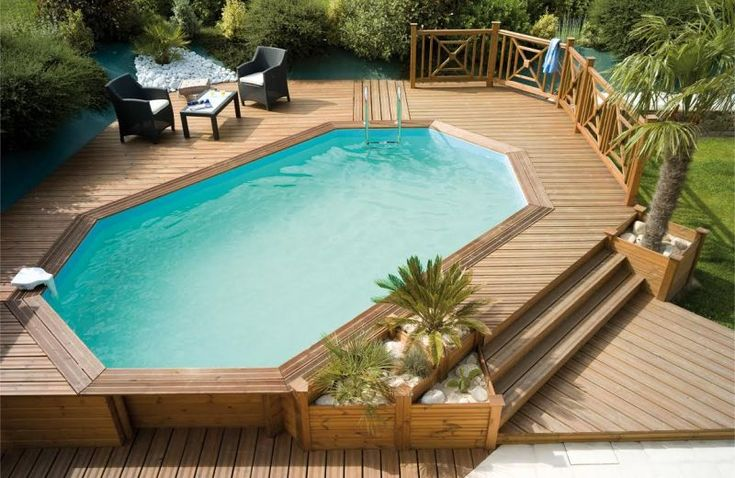 Piscina in legno fuori terra ODYSSEA 540+ ottagonale - Ø 5,40 x 3,30 h 1,33 m | BSVillage.com