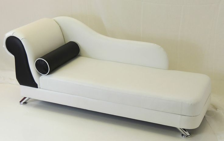 WHITE & BLACK FAUX LEATHER MINI CHAISE LONGUE WITH CHROME LEGS