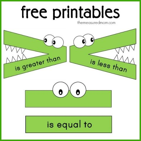 free printables for less than, greater than