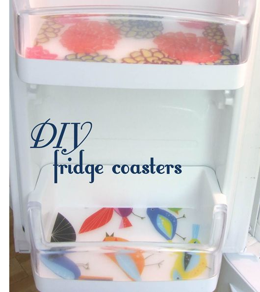 Found the bird placemats on clearance at Ikea.. and made these tonight! DIY Fridge coasters, no more scouring the fridge door shelves! Just remove, wipe down, replace! Love it! ~Tia