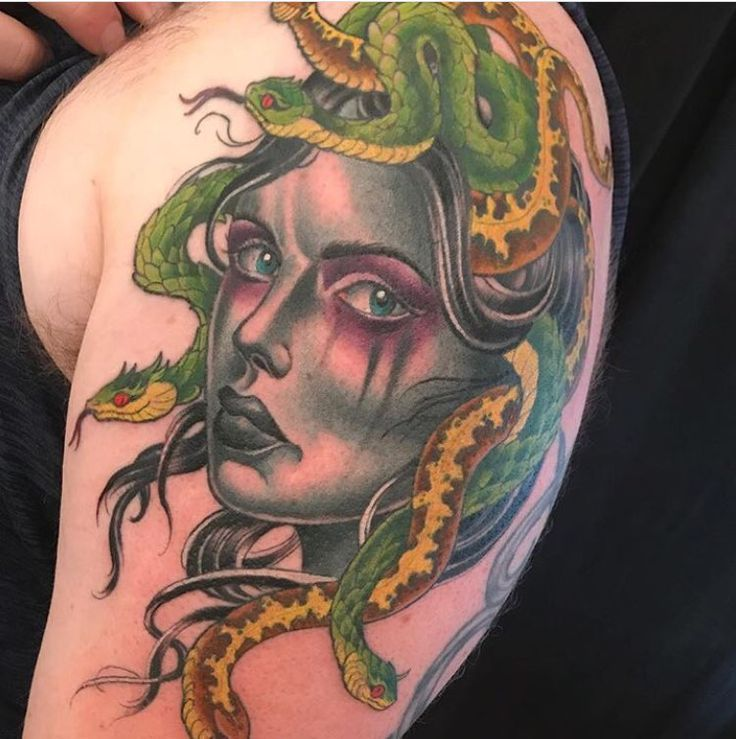 Medusa tattoo by Kim Saigh at Memoir Tattoo