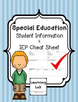 Student Information & IEP Cheat Sheet.  Keep track of lengthy IEP on one page!  Perfect to make a copy for general education teachers.