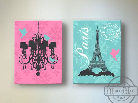 Eiffel Tower Chandelier Paris Bedroom Decor , Girls Room Decor - canvas art, Baby Girl Nursery Decor ,Pink and Aqua Decor