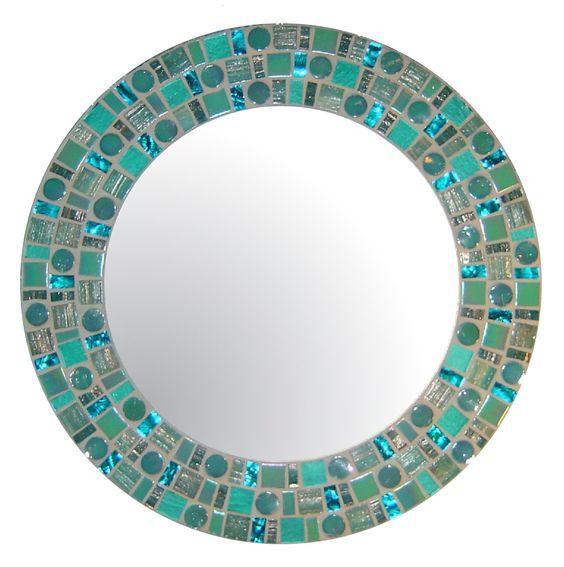 Sea Green Beach Mosaic Mirror  Round Glass Mosaic by opusmosaics, $130.00