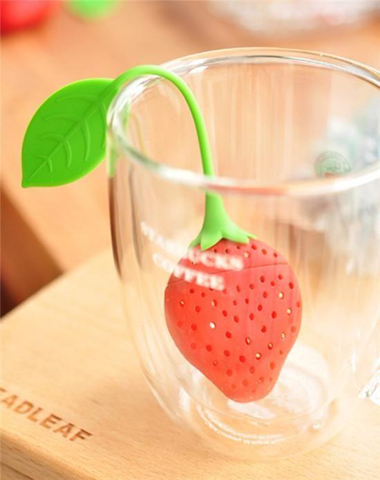 600pcs Strawberry shape silicon tea infuser strainer silicon tea filler bag ball dipper